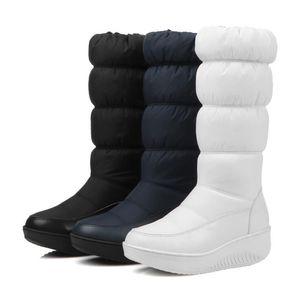 2019 Kış Kadın Boots Orta Buzağı Sıcak Aşağı Boots Peluş Taban Kadın Sigara slip Su geçirmez kar botları Kız Bayanlar Platformu Kadın Ayakkabı 35-44