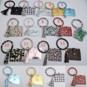 PU-Troddel-Armband-Karten-Beutel Kredit Plaid Halter Slots Frauen-Mappen-Geldbörse mit dem Schlüsselring Schlüsselanhänger Foto Case Taschen FFA3760