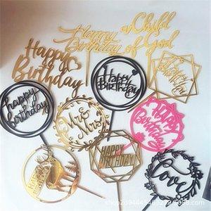1PC Oro Colore Colore Silver cake topper acrilico Happy Birthday Cake Topper Dessert della decorazione per la festa di compleanno regali belli