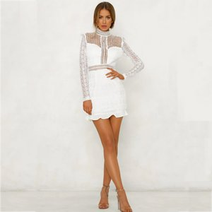 2020Fashion women's dress summer and autumn slim temperament sexy wave point backless lace hollow long-sleeved women's skirt new
