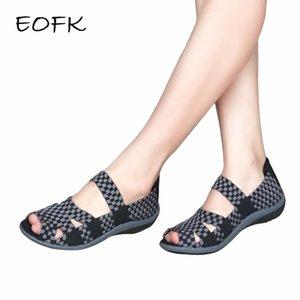 Mulheres Eofk sandálias feitas à mão sapatos achatados mulher 2019 Moda de Verão Calçados Femininos coloridos