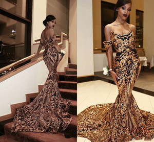 Luxury Gold black evening gowns Mermaid off shoulder Sexy African Prom Gowns Vestidos Special Occasion Dresses prom Wear