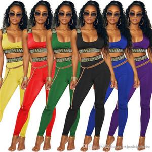 Sommer Striped Frauen 2PCS Hosen Sexy Ärmel hohe Taillen-Yoga Zwei Stücke Sets Designer Weibliche dünne Sportkleidung