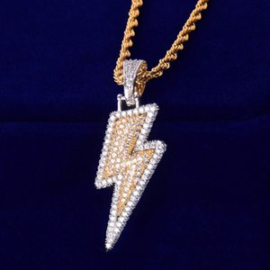 Men's Necklace Lightning Pendant Ice Out Cubic Zircon Gold Silver Color Rock Street Hip Hop Jewelry With Chain