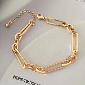 Simple Linked Oval Chain Bracelets Gold Color Hand Chain Jewelry for Women Metal Bracelet Wrist Jewelry