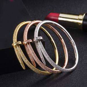 316L Edelstahl-Nagel-Armbandarmband mit CZ-Diamanten Gold-Silber-Roségold mit Kasten Freien Verschiffen