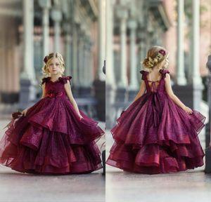 2020 Borgonha vestidos da menina da flor por Appliqued Meninas Pageant Vestidos Festa Floral casamento do laço Beads 3D Vestidos Princesa Wear