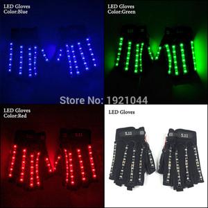 تصميم جديد 1pair (= 2pcs) قفازات LED إمدادات حزب الرقص مدعوم من 1-23A بطارية مشرق الصمام الخفيفة قفازات للعب حزب اللوازم