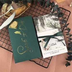 2019 New Green Traditional Invitations Customized With Tags Waist Cards Invitations Cards +Tags Vintage Greeting Card Kit Supply