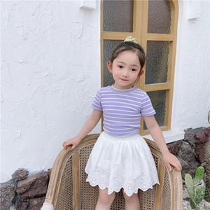 INS dos court bande Bows manches les enfants de bébé d'été Les filles T-shirt + enfants 2pcs dentelle blanche jupes brodées creuses ensembles A2797