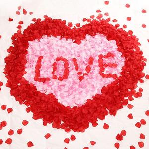 1000pcs Girl Toss Petal Seda artificial Pétalos de rosas rojas Falso Rose Flower Confetti Decoraciones realistas para el banquete de boda