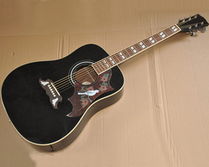 """Wholesale 41"""" black folk acoustic guitar with rosewood fingerboard saddle,White binding body and fingerboard,Golden tuners."""
