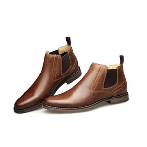 Yeni Erkek Martin Patik Deri İngiliz Bilek Boots Tasarımcı Gerçek Deri Erkek İş Günlük Ayakkabılar Gentleman Çalışma Partisi Düğün Ayakkabıları