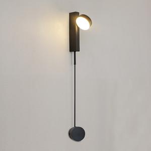 Dimming ile 12W Modern Duvar Abajur Çalışması Yatak Odası Siyah Beyaz Dövme Metal Göz Bakımı LED Okuma Duvar Işık Anahtarı