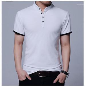 Shirts Fashion pied de col à manches courtes T-shirts pour hommes respirante lambrissé Bouton Pure Color Vêtements Casual Mens Designer T