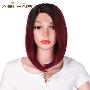 AISI HAIR 12inches Side Part Ombre Black Red Wig Synthetic Lace Front Wig Heat Resistant Fiber Hair Cosplay Bob