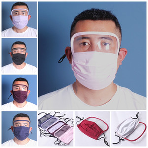 Stock Unisex fabric washable Dustproof face mask with eye Shield 7 colors man and women fashion masks