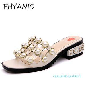 PHYANIC 2018 mujer sandalias cadena moda cuadrado Toe zapatillas verano playa pisos Slip On mujeres zapatos Creepers c21
