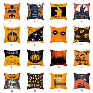 Jogar Halloween linho fronha abóbora Pillowcase Sofá Cushion Cover Orange Geometric decorativa assento Pillowcase Car fronha