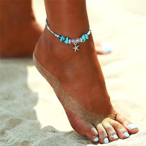 New Vintage Adjustable Anklet Bracelet For Women Bohemian Summer Beach Turquoise Stone Starfish Charm Anklets