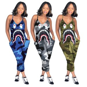 One-piece Pants Europe and America Ms 2020 Shark mouth printing Suspenders Jumpsuits fashion Sexy Slim All-match Cropped pants new style