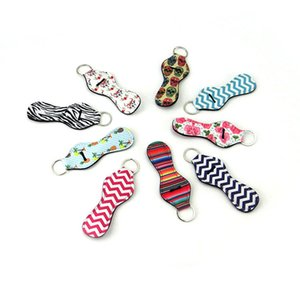 New Many Styles Sports Printed Chapstick Holder Leopard Keychains Wrap Lipstick Holders Lip Cover Party Wedding Gift