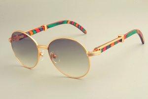 2019 ساخنة جديدة مستديرة إطار النظارات الشمسية النظارات الشمسية 19900692، الرجعية الأزياء واقي من الشمس، واللون الطبيعي معبد خشبي النظارات الشمسية