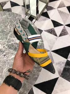 Hot Sale-Mesh plat sandales, chaussures de luxe talon haut de femmes, moyenne avec 5.5CM, talon haut 8.5