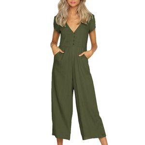 Mulheres Macacões de manga Curta Cor Sólida Casual Com Decote Em V senhoras jumpsuit romper Mulheres Verão calças Retas de Algodão e Linho * XSL