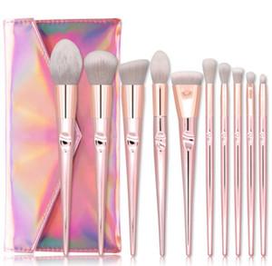 10pcs / set Makyaj Fırçalar Seti Vakfı Allık Yukarı Fırçalar Seti Kozmetik Yumuşak Sentetik Saç Lazer PU Kılıfı olun