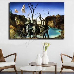 Salvador Dali Swans Reflecting Elephants Canvas Painting Print Living Room Home Decor Modern Wall Art Oil Painting Poster