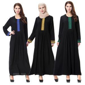 2020 New Style Muslim Dresses Arab Middle Eastern Lady Robe Casual Chiffon Embroidery Decoration Abaya Kaftan Women's Clothing