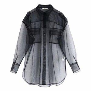 Women Transparent Mesh Blouse Pockets Sexy See-through Black Shirt Casual Loose Female Turn Down Neck Long Shirt Plus Size