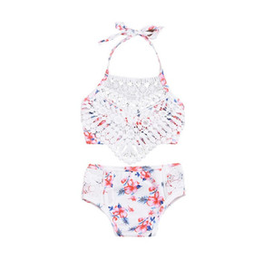 New Baby Girls Lace swimsuit Fashion Floral Bow Lace-up Halter Kids Swimwear Summer Flower Children spa beach bathing suit Y2298