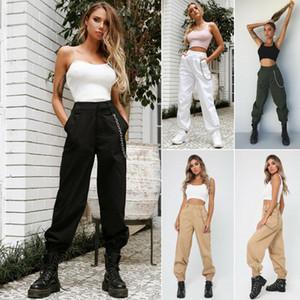 Mulheres Casual Calças Jogger Dance Sport Baggy Trousers Slacks Moda Feminina cintura alta Cadeia hip- combate calças cargo Sólidos
