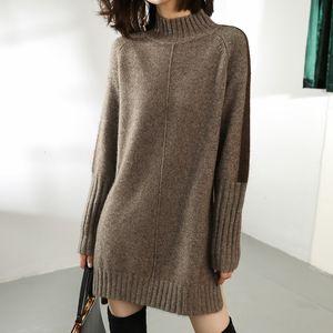 Camisola do inverno SZDYQH Mulheres Outono de Malha Vestidos Mulheres Moda Turtleneck Sweater Long Vestido Ladies Aqueça dividida camisola vestido V191130