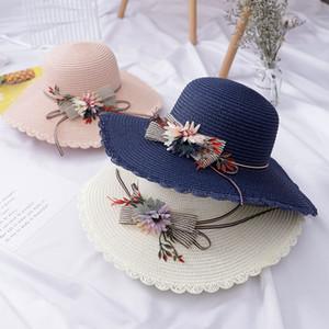 Tea Party Sombreros de verano de las mujeres del casquillo plegable flojo Flores Beach Sun de la paja sombreros de ala ancha Sunhat Mujer Gorra Plana Chapeau