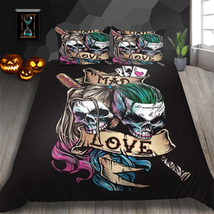 Love Bedding Set Skull Couple Fashionable Creative Duvet Cover Samurai King Queen Twin Full Single Double Bed Cover with Pillowcase