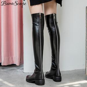 Buono Scarpe Молния над коленом Длинные сапоги из натуральной кожи Botas Mujer Мода Длинные пинетки Женщины кожаные ботинки плиссе
