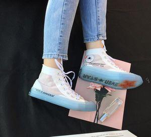Damenschuhe Herbst Trending Art Unisex Sneakers hohe Spitzen Transparente Sole Jelly alleinige kühle Mode-Liebhaber Freizeitschuhe 35-44