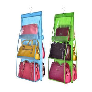 6 Bolso Pendurado Bolsa Organizador para Roupeiro Armário Saco De Armazenamento Transparente Porta Da Parede Saco De Sapato De Diversão Claro com Hanger Bolsa