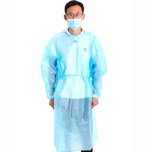 Quick Delivery Cheap Wholesale PRICE CPE Waterproof And Blowout Preventer Protective Clothing Blue Dress Disposable Protective Clothing