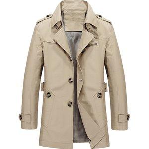Nouvelle Arrivée Marque Veste Hommes Conception De Mode Pardessus Slim Fit En Coton Massif Khaki Vêtements Asiatique Taille M-5XL