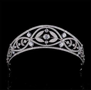 Tall Huge Crown Princess Queen Tiara Zircon Wedding Bridal Headpiece Hair Accessories Party Prom Women Headdress Headwear Ornament Jewelry