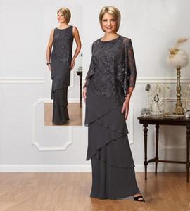 Uzun Kollu Ceket Mücevher Boyun payetli Abiye Giyim Kat Uzunluk Düğün Balo Elbise ile Gelin Elbise Of Şık Gri Dantel Anne