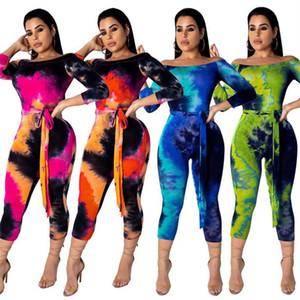 Drucken Sternenhimmel Overall Langarm weg Schulter Spielanzug Frauen Designer Einteilige Bodysuit Fashion Capri-Hosen Overalls mit Gurt-Spielanzug