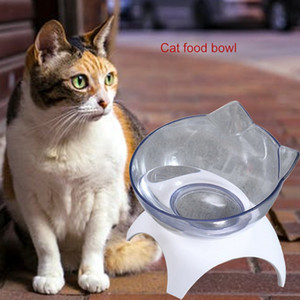 Transparent Cat Bowls With Stand Pet Feeder Double Food Diner Bowl Set Perfect For Cats And Ultra Small Dog
