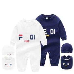 Bebek 3 adet set Şapka Önlük Tulum Çocuk Tasarımcı Giyim Kız Erkek Marka F mektup Giyim Yenidoğan Bebek Fd tulum Bebek Tasarımcı Giyim