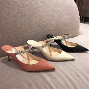 حار بيع رقيقة عالية الكعب مضخات امرأة البغال ربيع جديد كريستال الانزلاق على أحذية عالية الكعب المرأة الصيف النعال حجر الراين ماري جينس الأحذية