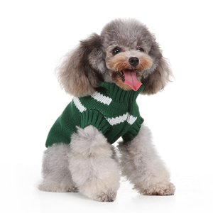 knitting winter sweater vest pet's clothes green striped sweater Cat Dog Casual Vest Sweater Winter Warm vest Clothing#0212y10